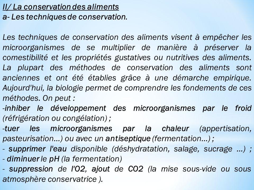 II/ La conservation des aliments