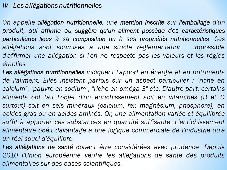 IV - Les allégations nutritionnelles