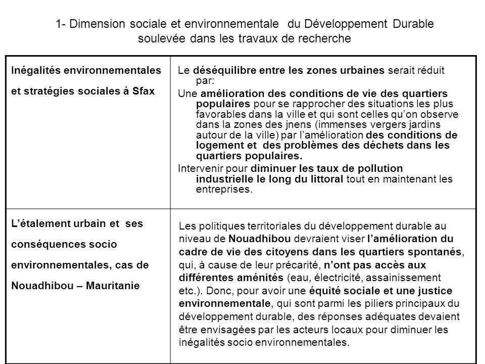 1- Dimension sociale et environnementale du Développement Durable soulevée dans les travaux de recherche
