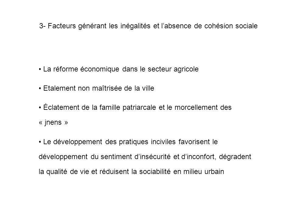 3- Facteurs générant les inégalités et l'absence de cohésion sociale