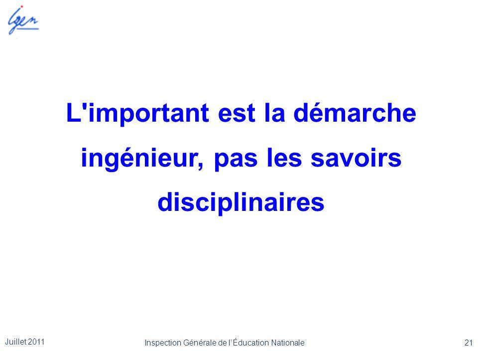 L important est la démarche ingénieur, pas les savoirs disciplinaires