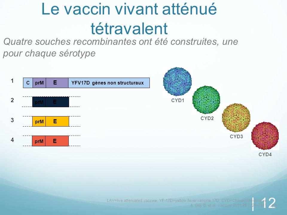 Le vaccin vivant atténué tétravalent