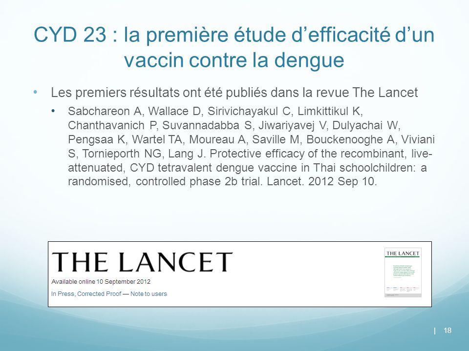 CYD 23 : la première étude d'efficacité d'un vaccin contre la dengue