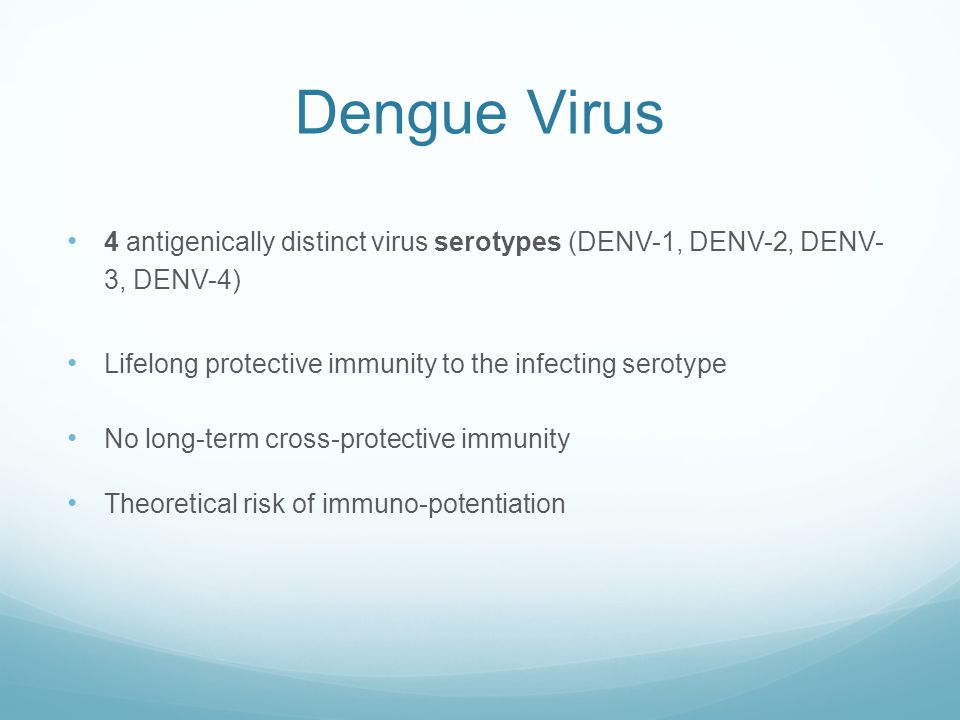 Dengue Virus 4 antigenically distinct virus serotypes (DENV-1, DENV-2, DENV- 3, DENV-4) Lifelong protective immunity to the infecting serotype.