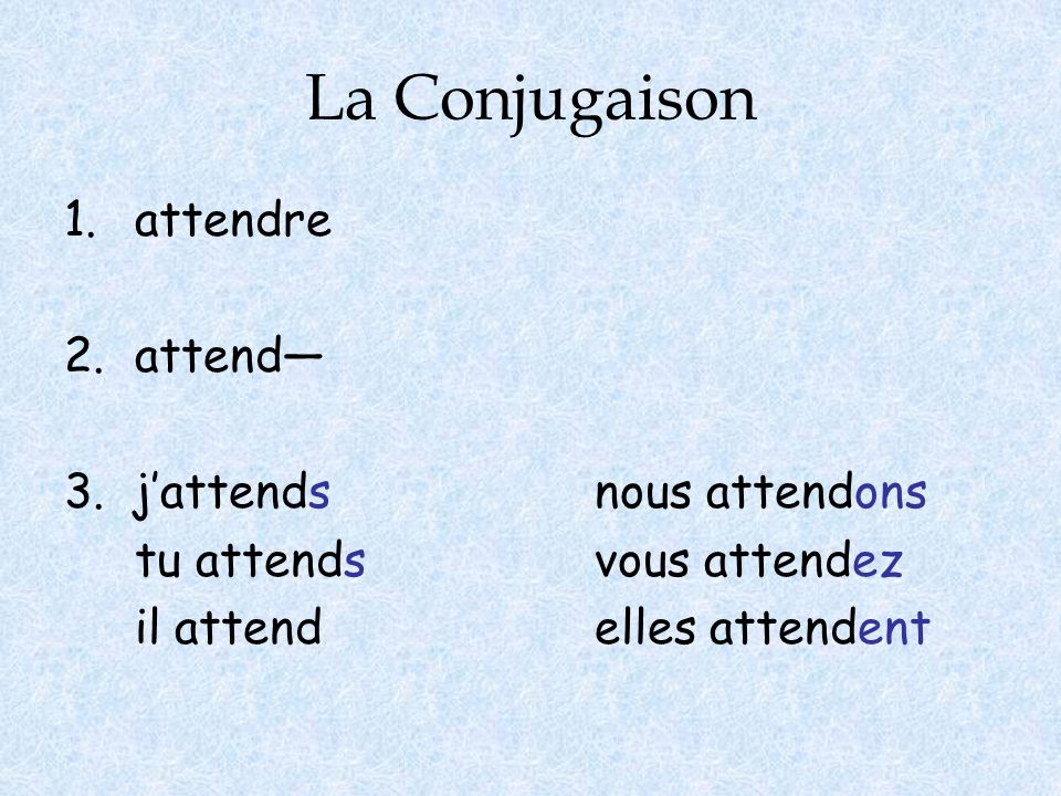 La Conjugaison attendre 2. attend— 3. j'attends nous attendons