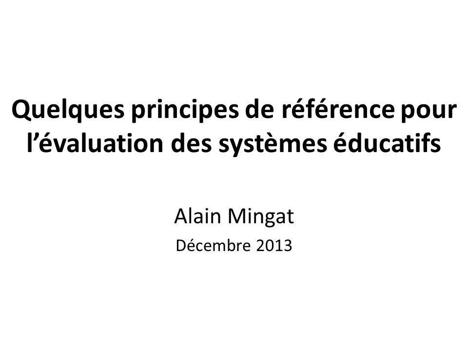 Quelques principes de référence pour l'évaluation des systèmes éducatifs