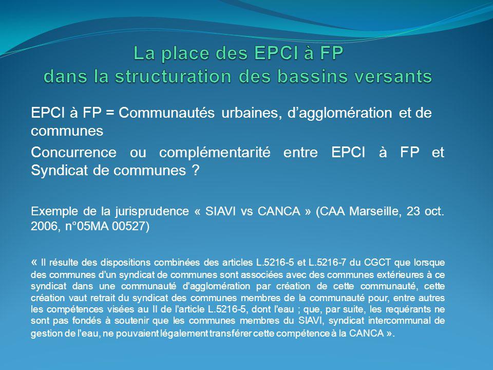 La place des EPCI à FP dans la structuration des bassins versants