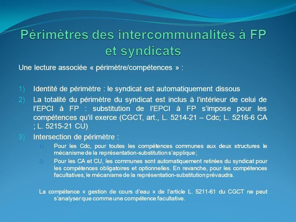 Périmètres des intercommunalités à FP et syndicats