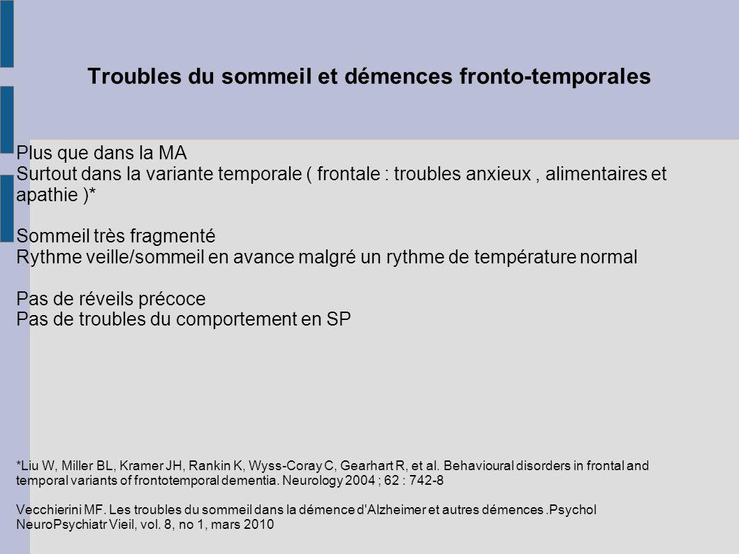 Troubles du sommeil et démences fronto-temporales