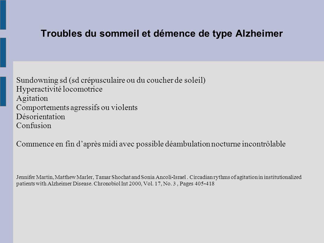 Troubles du sommeil et démence de type Alzheimer