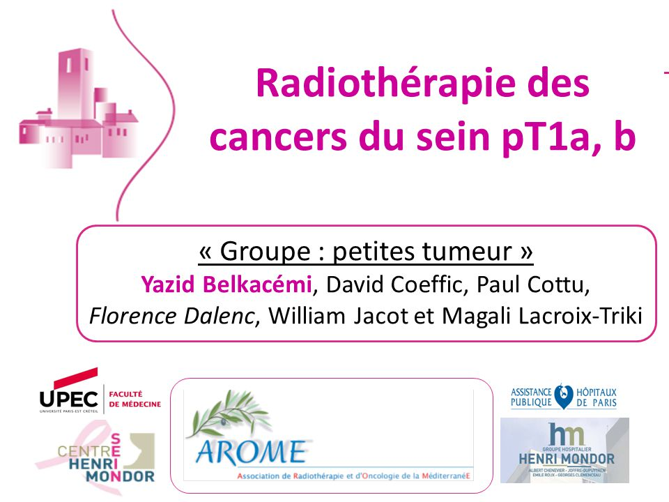 Radiothérapie des cancers du sein pT1a, b