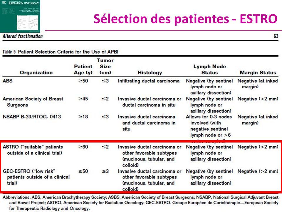 Sélection des patientes - ESTRO