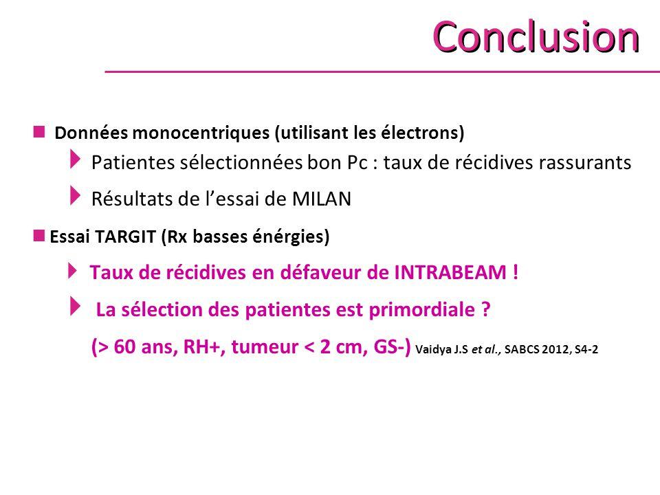 Conclusion Données monocentriques (utilisant les électrons) Patientes sélectionnées bon Pc : taux de récidives rassurants.