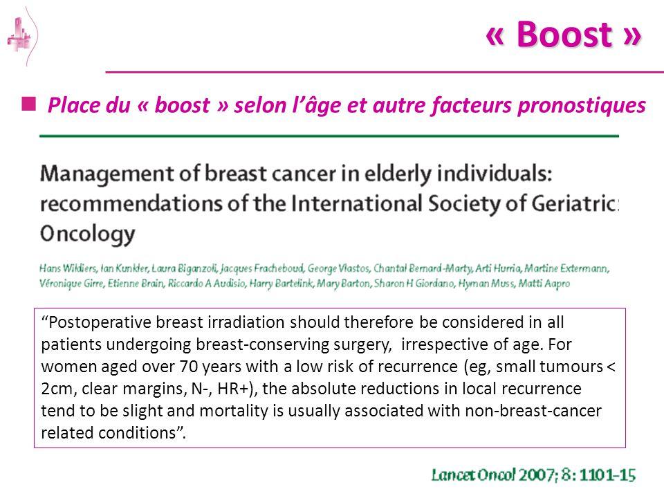 « Boost » Place du « boost » selon l'âge et autre facteurs pronostiques.