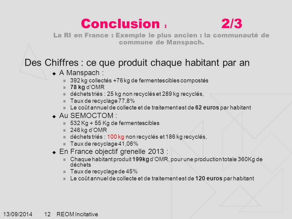 Conclusion : 2/3 La RI en France : Exemple le plus ancien : la communauté de commune de Manspach.