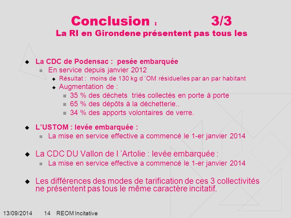 Conclusion : 3/3 La RI en Girondene présentent pas tous les