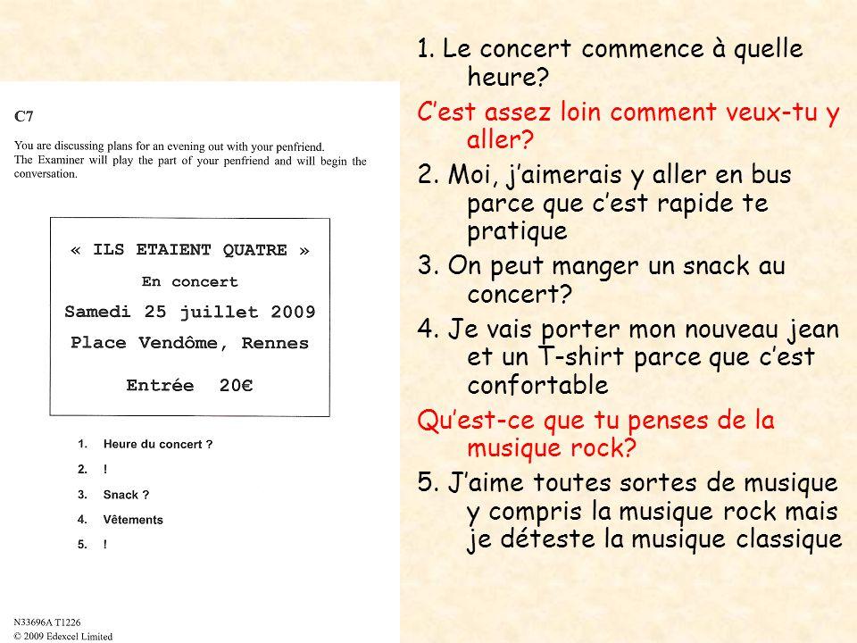1. Le concert commence à quelle heure