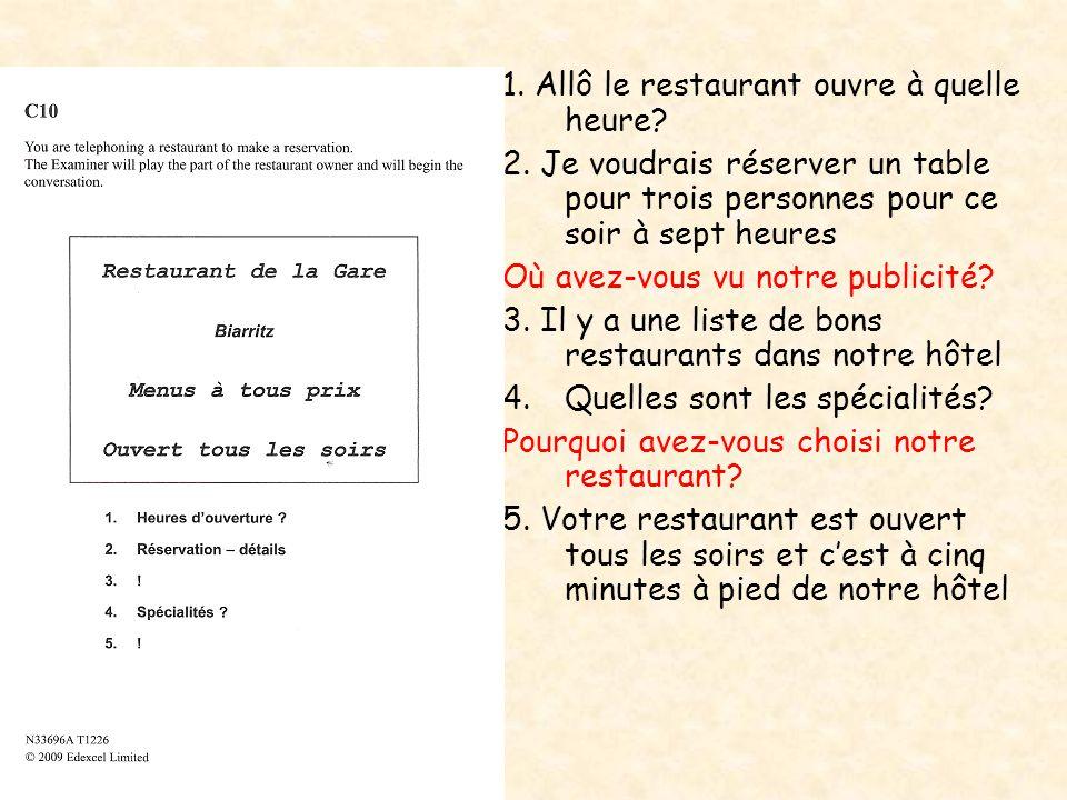 1. Allô le restaurant ouvre à quelle heure