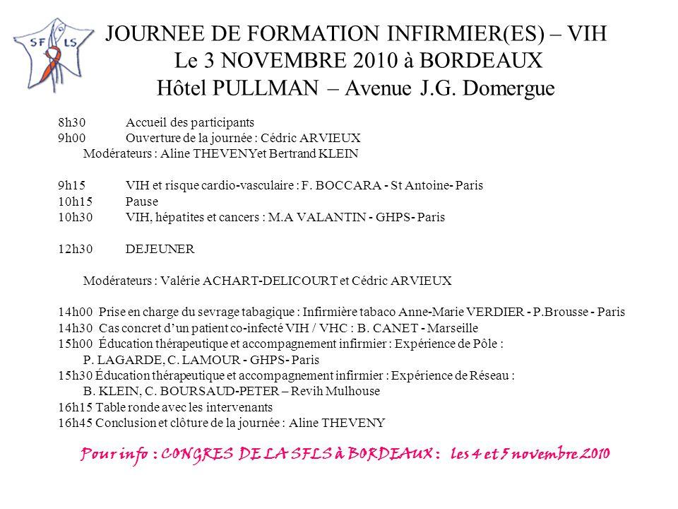 Pour info : CONGRES DE LA SFLS à BORDEAUX : les 4 et 5 novembre 2010