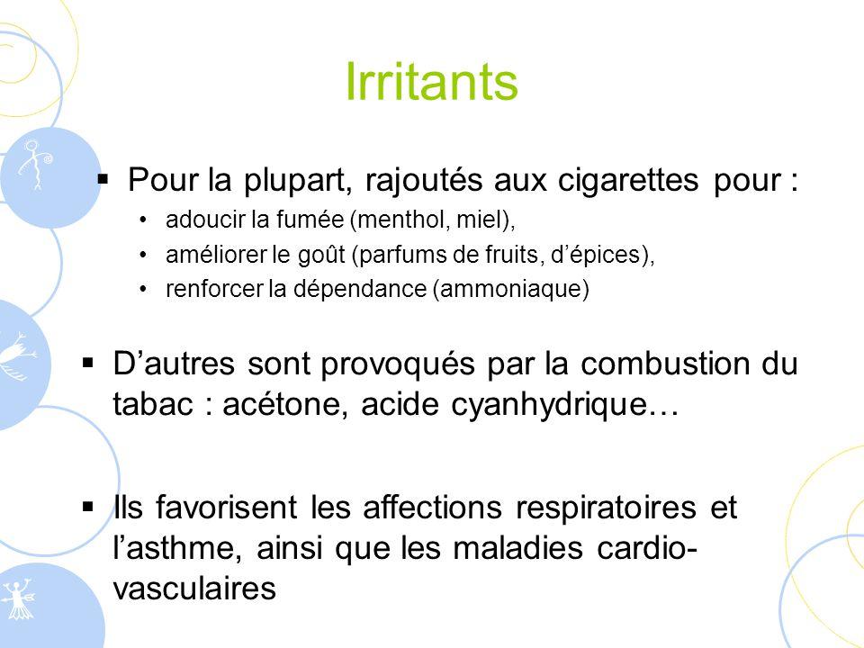Irritants Pour la plupart, rajoutés aux cigarettes pour :
