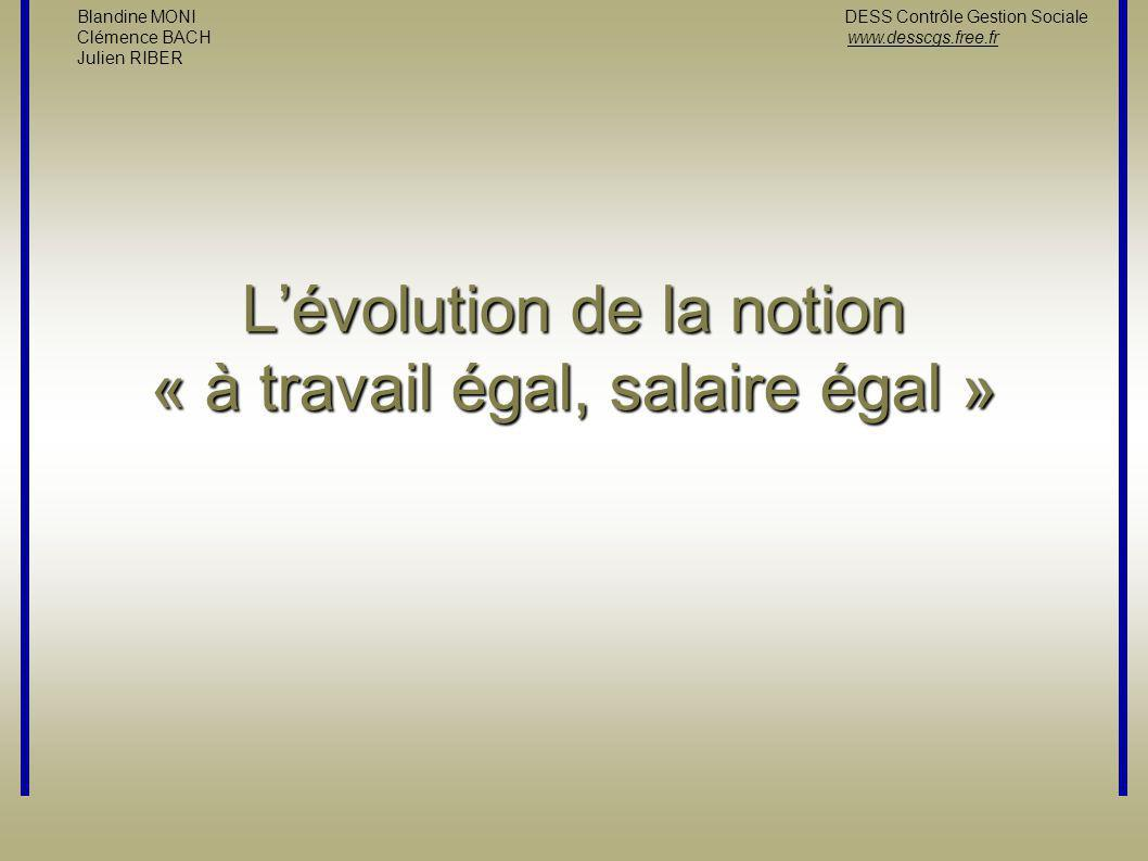 L'évolution de la notion « à travail égal, salaire égal »