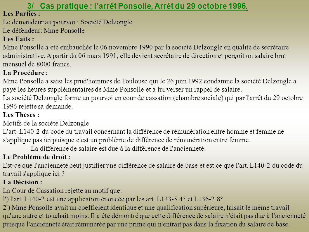3/ Cas pratique : l'arrêt Ponsolle, Arrêt du 29 octobre 1996.