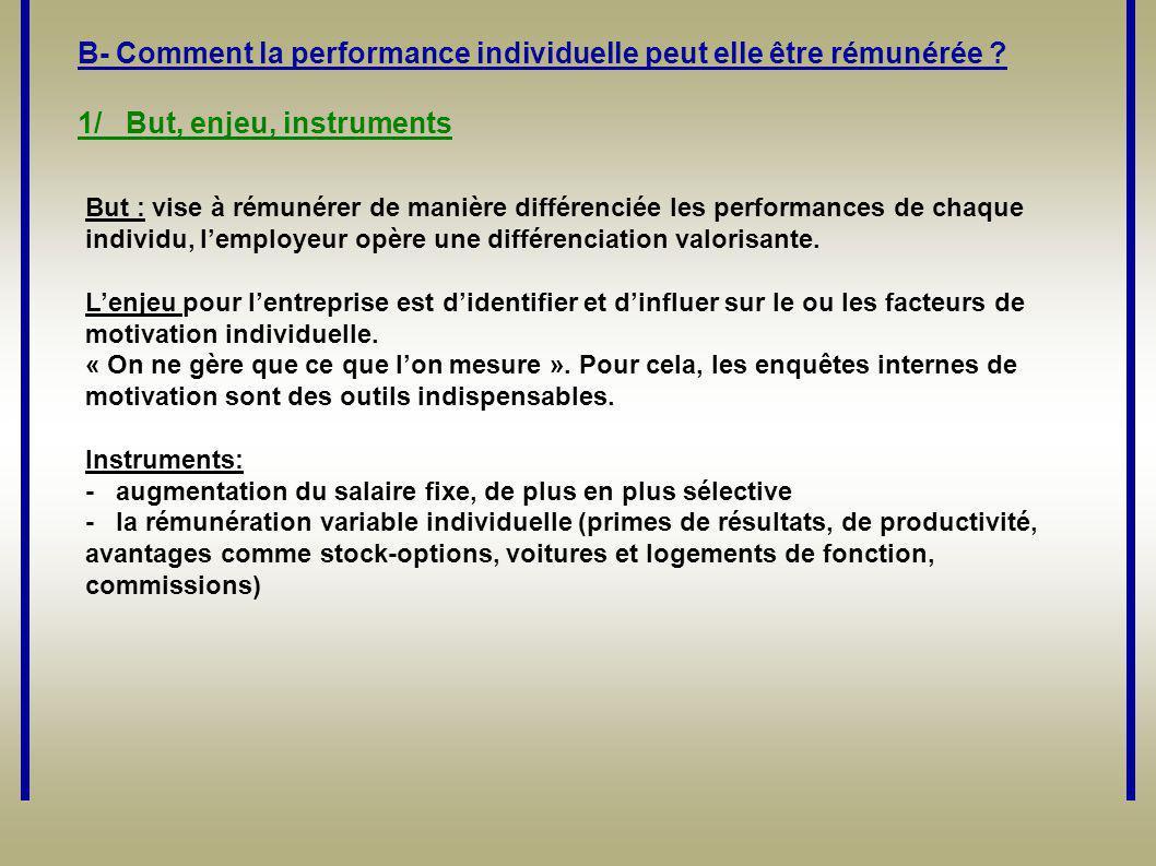 B- Comment la performance individuelle peut elle être rémunérée
