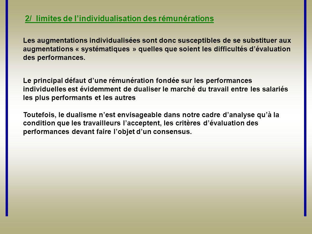 2/ limites de l'individualisation des rémunérations