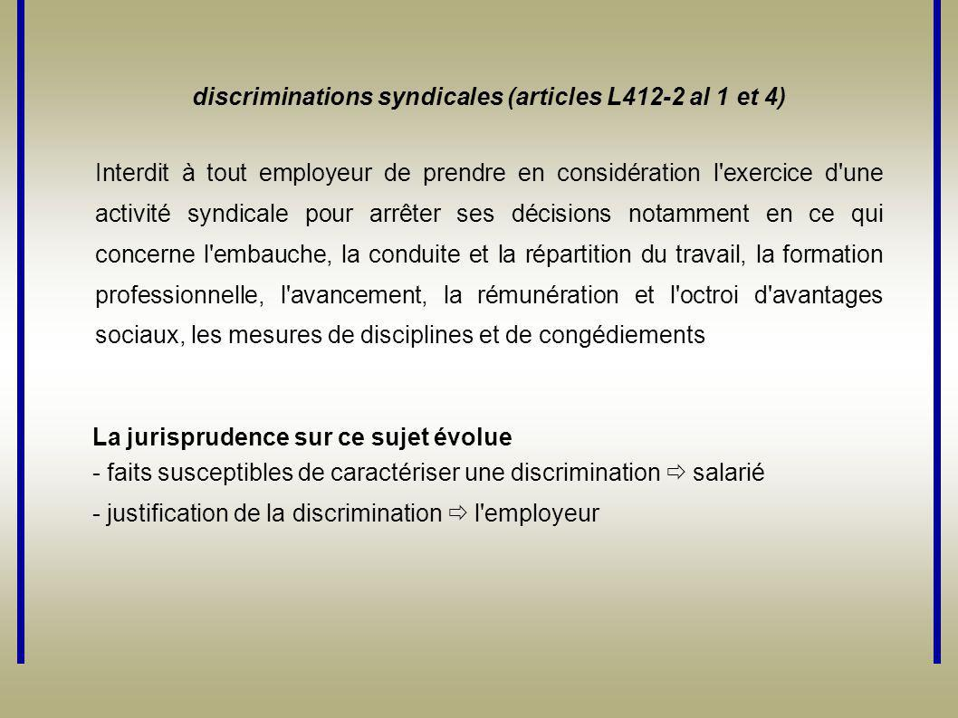 discriminations syndicales (articles L412-2 al 1 et 4)