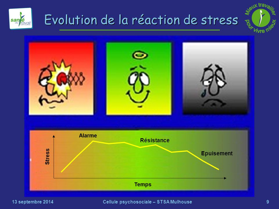 Evolution de la réaction de stress