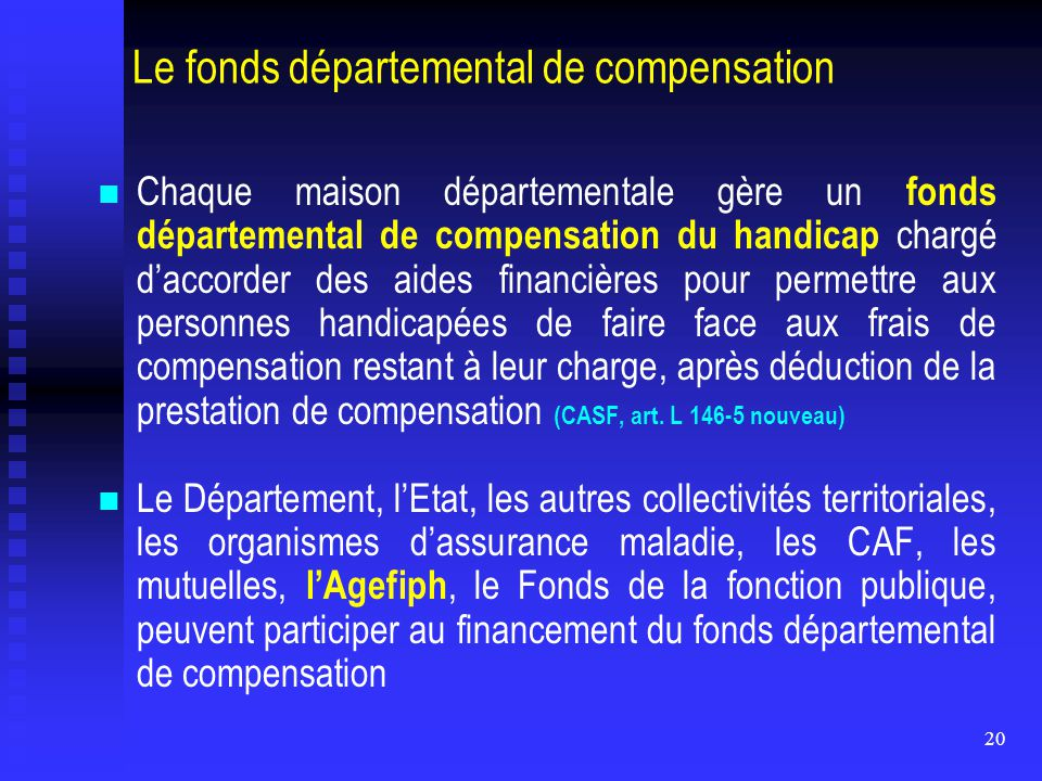 Le fonds départemental de compensation