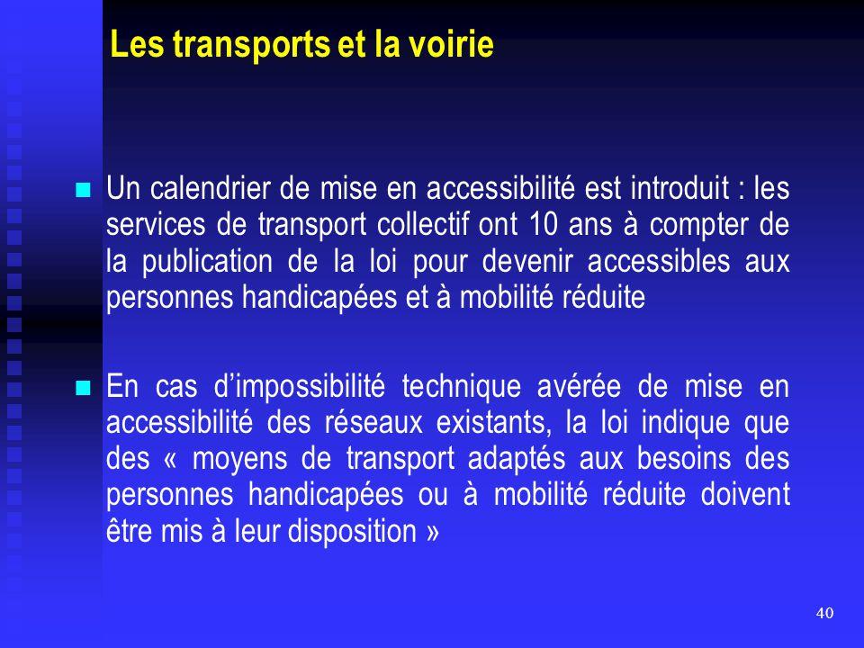 Les transports et la voirie