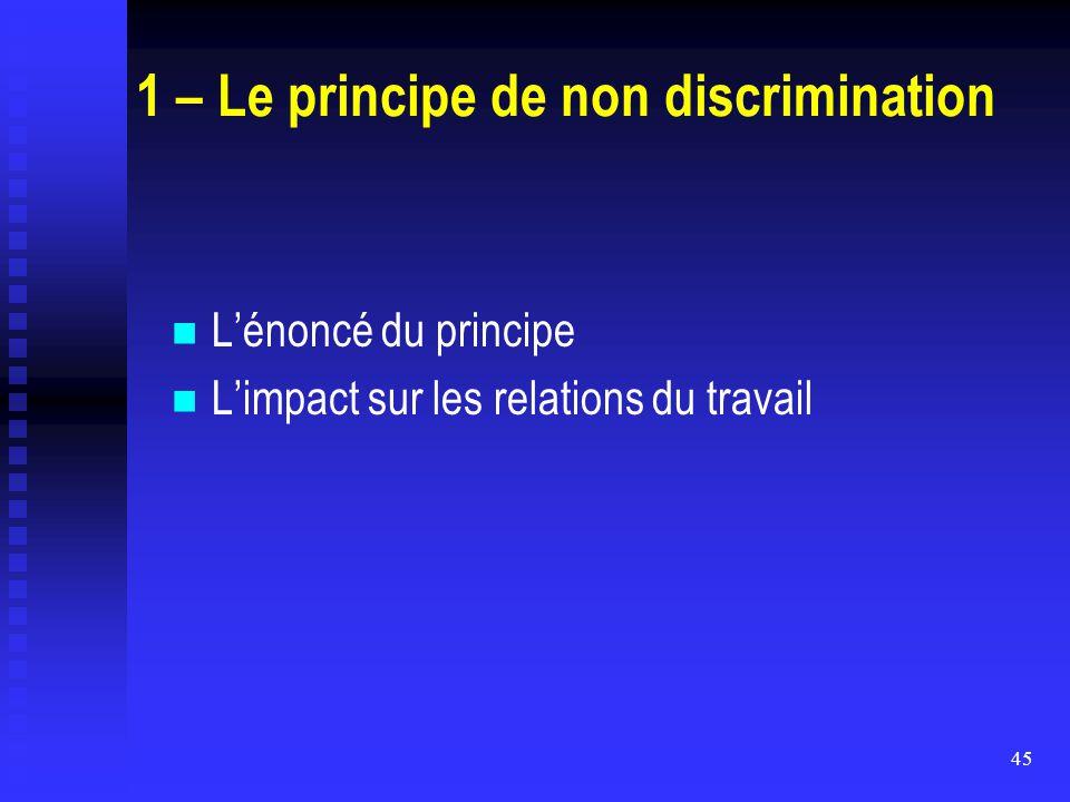 1 – Le principe de non discrimination
