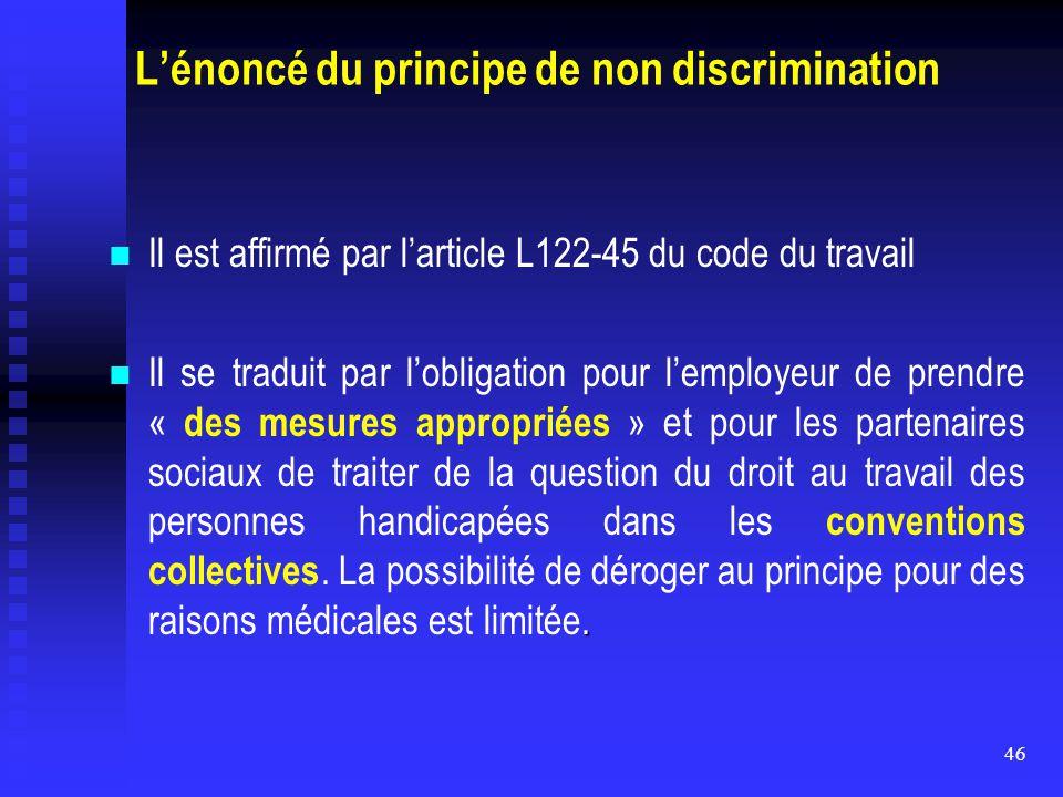 L'énoncé du principe de non discrimination