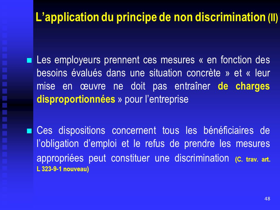 L'application du principe de non discrimination (II)