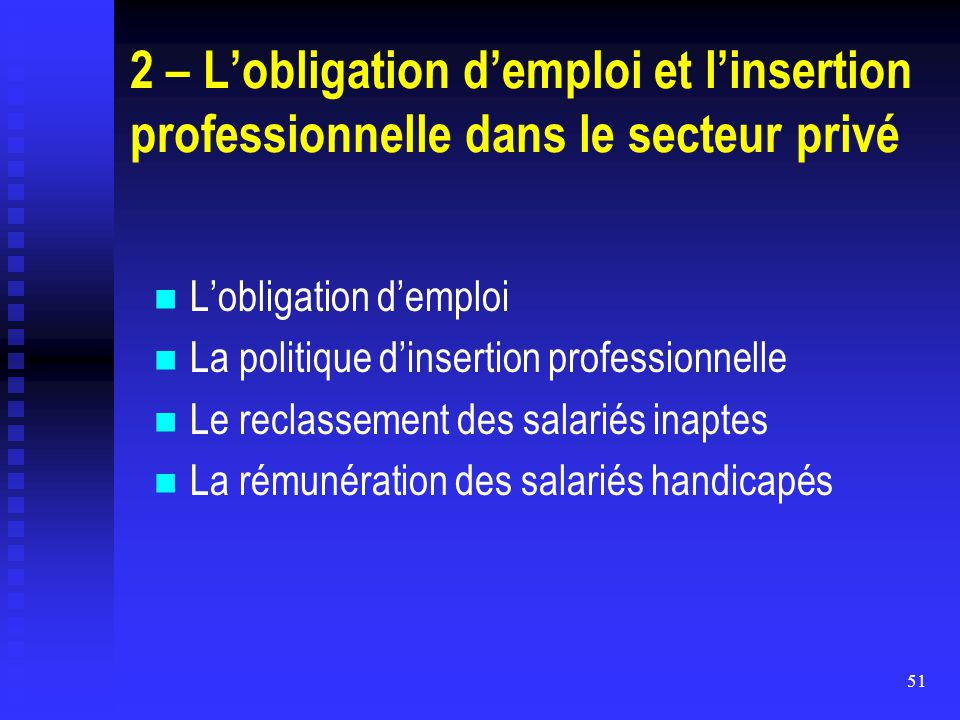 2 – L'obligation d'emploi et l'insertion professionnelle dans le secteur privé