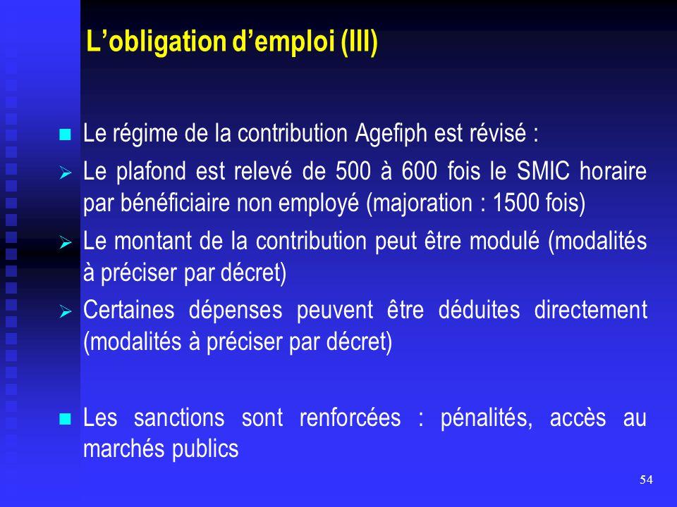 L'obligation d'emploi (III)