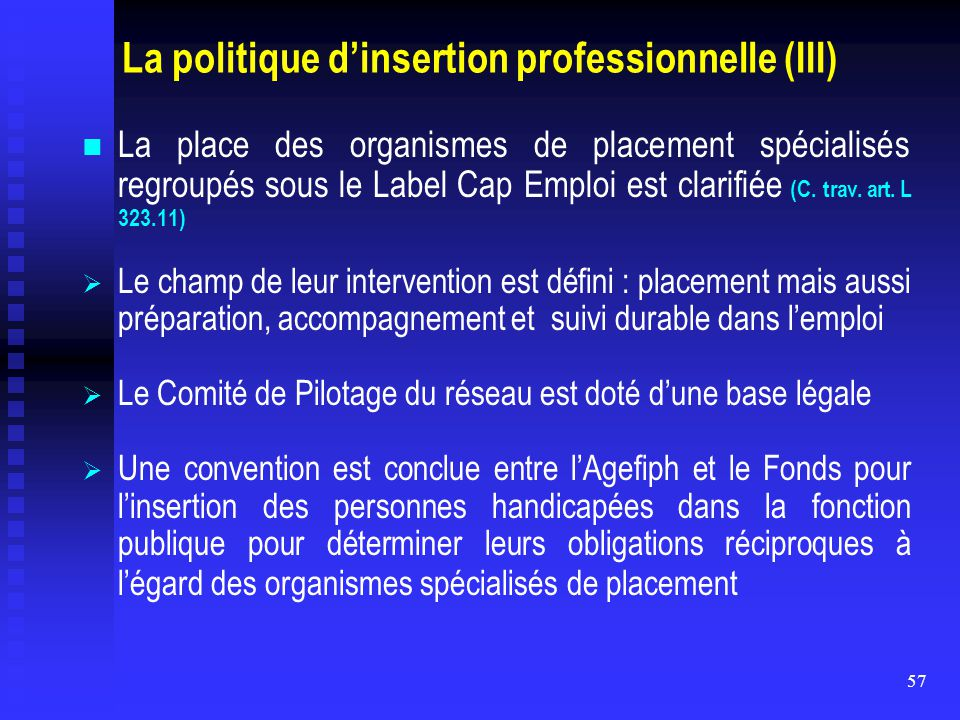 La politique d'insertion professionnelle (III)