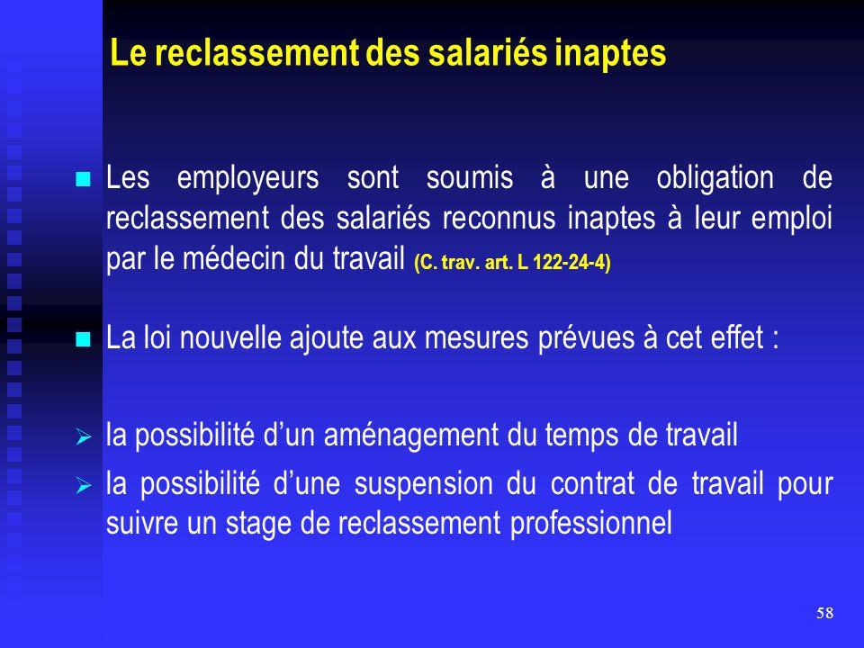 Le reclassement des salariés inaptes