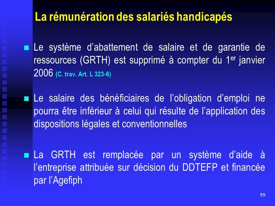 La rémunération des salariés handicapés