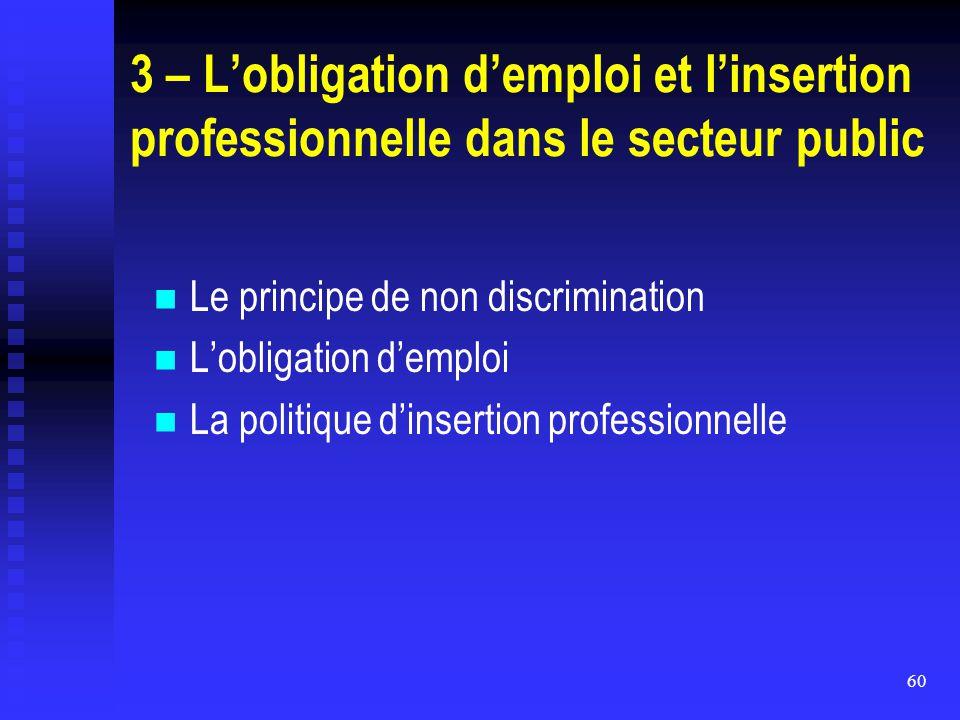 3 – L'obligation d'emploi et l'insertion professionnelle dans le secteur public