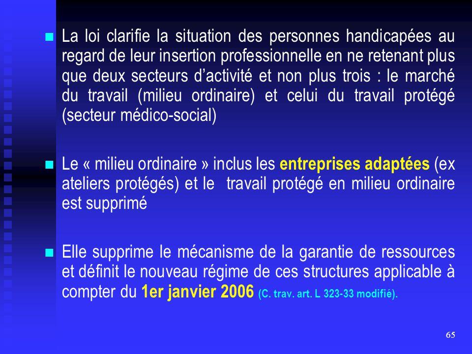 La loi clarifie la situation des personnes handicapées au regard de leur insertion professionnelle en ne retenant plus que deux secteurs d'activité et non plus trois : le marché du travail (milieu ordinaire) et celui du travail protégé (secteur médico-social)