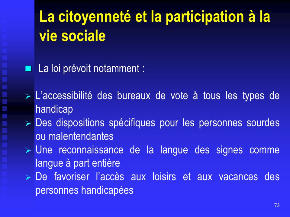 La citoyenneté et la participation à la vie sociale