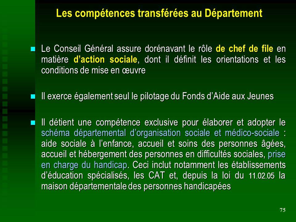 Les compétences transférées au Département