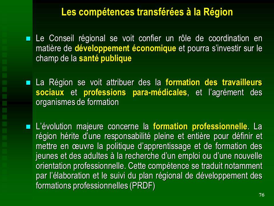Les compétences transférées à la Région