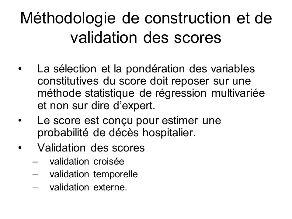 Méthodologie de construction et de validation des scores