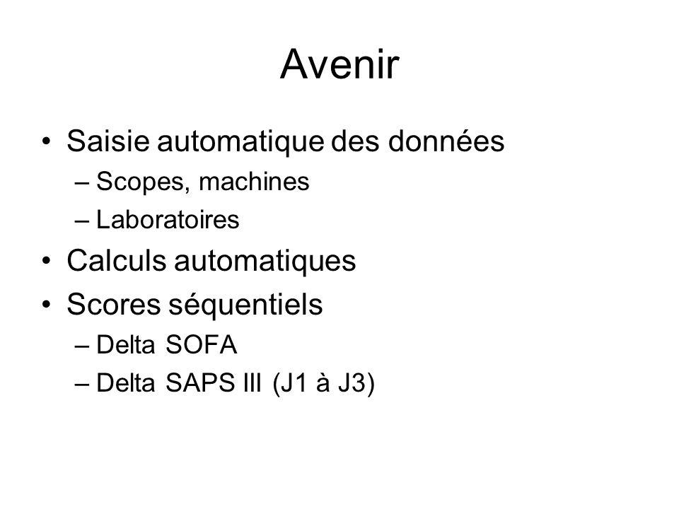 Avenir Saisie automatique des données Calculs automatiques