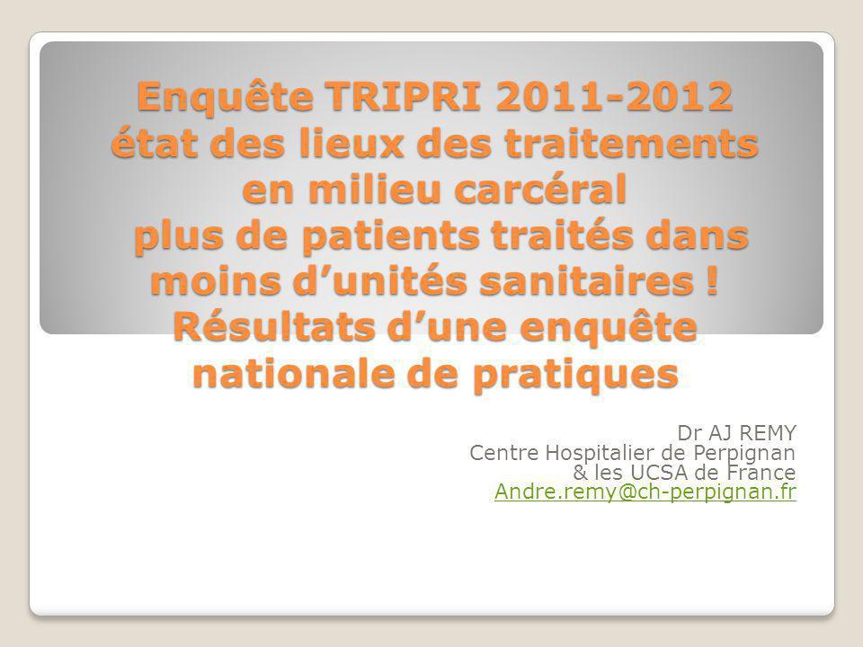 Enquête TRIPRI 2011-2012 état des lieux des traitements en milieu carcéral plus de patients traités dans moins d'unités sanitaires ! Résultats d'une enquête nationale de pratiques