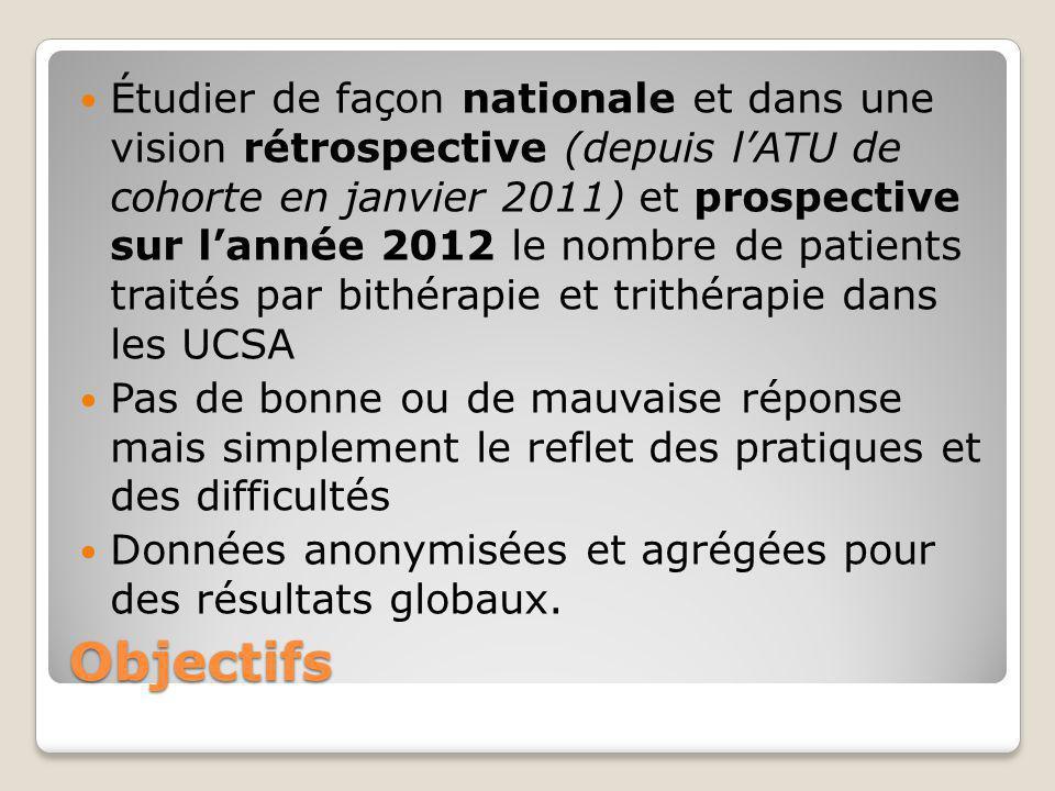 Étudier de façon nationale et dans une vision rétrospective (depuis l'ATU de cohorte en janvier 2011) et prospective sur l'année 2012 le nombre de patients traités par bithérapie et trithérapie dans les UCSA