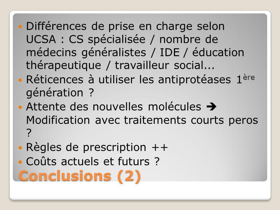 Différences de prise en charge selon UCSA : CS spécialisée / nombre de médecins généralistes / IDE / éducation thérapeutique / travailleur social...